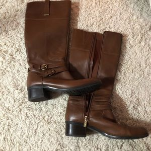 medium brown leather boots